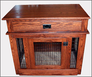 solid maple wood and wire dog crate