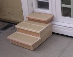 Custom Cedar Pet Steps for Doggy Door & Custom Pet Ramps u0026 Steps