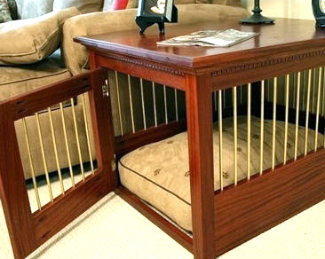 Wooden Dog Crate - Solid Mahogany and Brass - Made in Pennsylvania